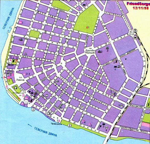 Карта центра Архангельска